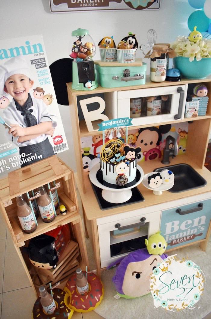 Kitchen Spread Dessert Table from a Tsum Tsum Bakery Birthday Party on Kara's Party Ideas | KarasPartyIdeas.com (29)