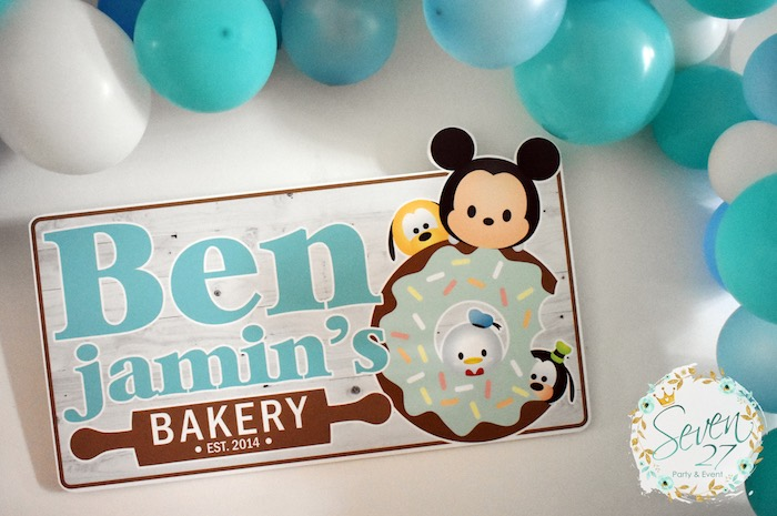 Tsum Tsum Bakery Backdrop from a Tsum Tsum Bakery Birthday Party on Kara's Party Ideas | KarasPartyIdeas.com (28)