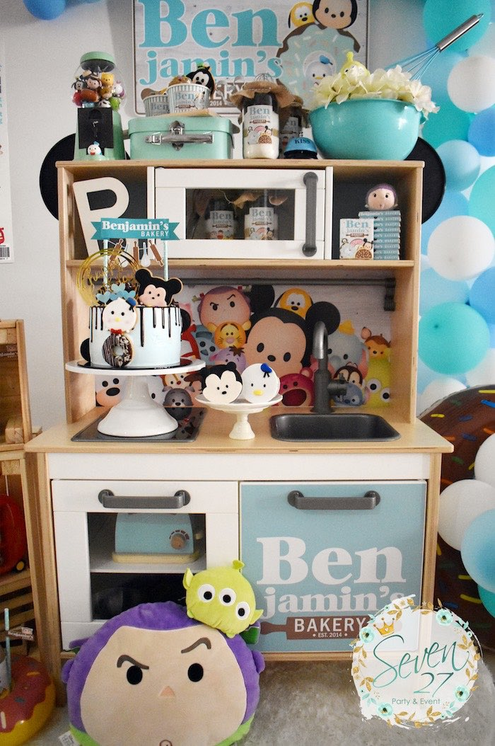 Play Kitchen Dessert Spread from a Tsum Tsum Bakery Birthday Party on Kara's Party Ideas | KarasPartyIdeas.com (23)