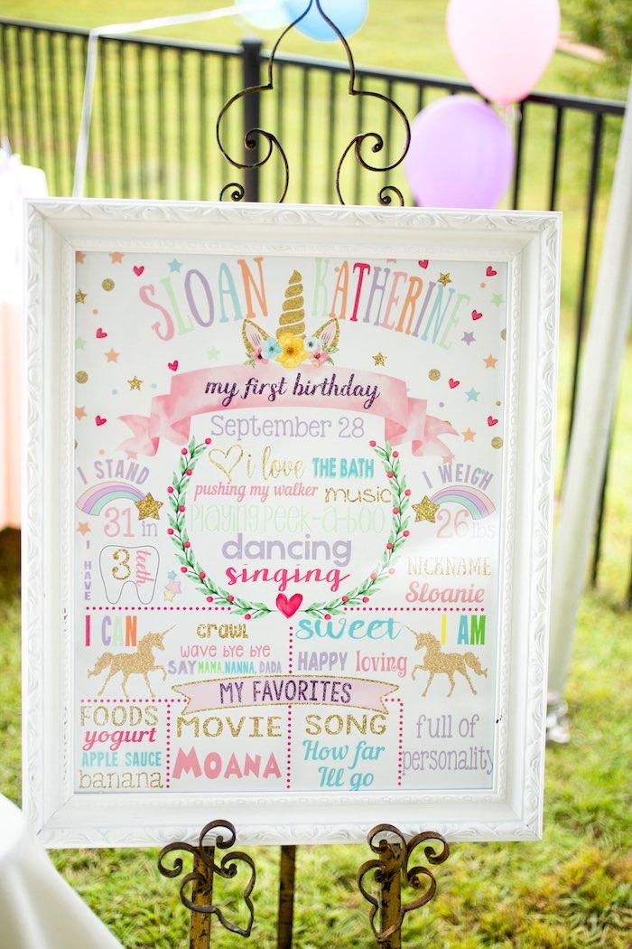 Unicorn Themed Highlight + Milestone Board from a Unicorn 1st Birthday Party on Kara's Party Ideas | KarasPartyIdeas.com (14)