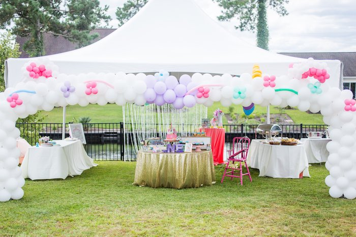 Unicorn Party Tentscape from a Unicorn 1st Birthday Party on Kara's Party Ideas | KarasPartyIdeas.com (12)
