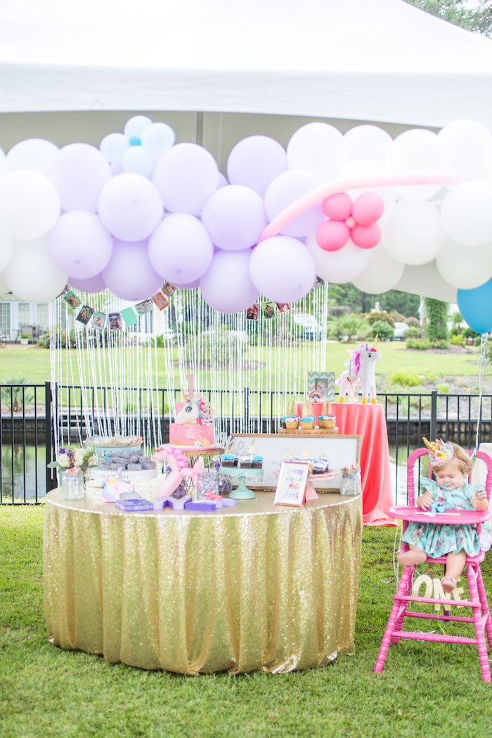 Unicorn Party Tables from a Unicorn 1st Birthday Party on Kara's Party Ideas | KarasPartyIdeas.com (10)