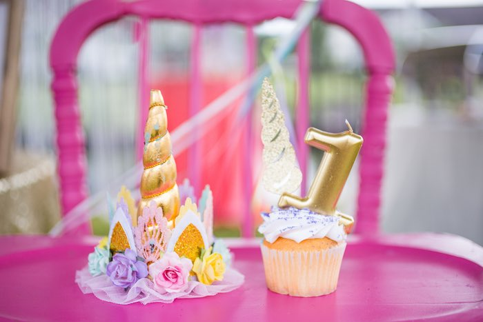 Unicorn Party Hat + Cupcakes from a Unicorn 1st Birthday Party on Kara's Party Ideas | KarasPartyIdeas.com (9)