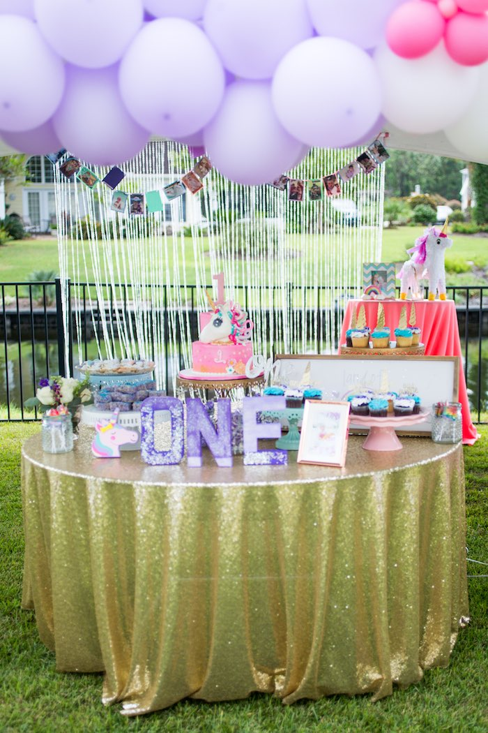 Glam Unicorn Party Table from a Unicorn 1st Birthday Party on Kara's Party Ideas | KarasPartyIdeas.com (22)
