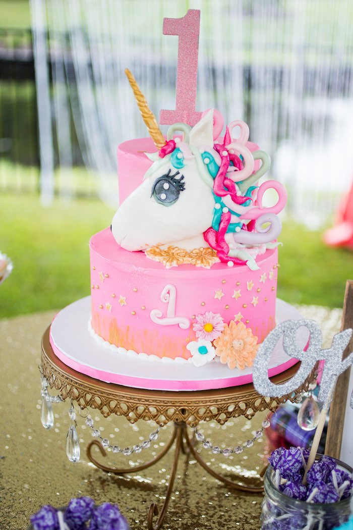Unicorn Cake From A 1st Birthday Party On Karas Ideas