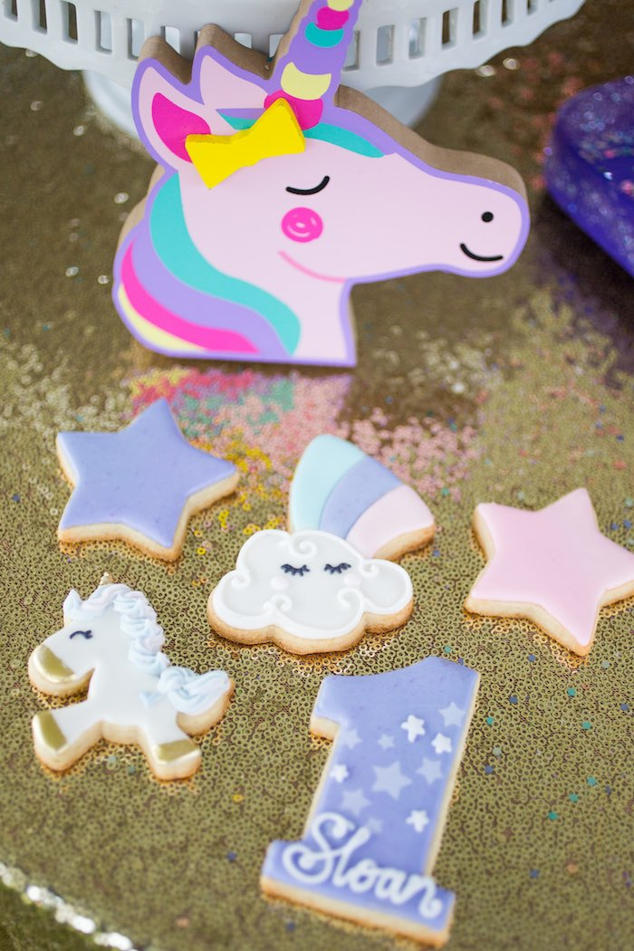 Unicorn-inspired Cookies from a Unicorn 1st Birthday Party on Kara's Party Ideas | KarasPartyIdeas.com (20)