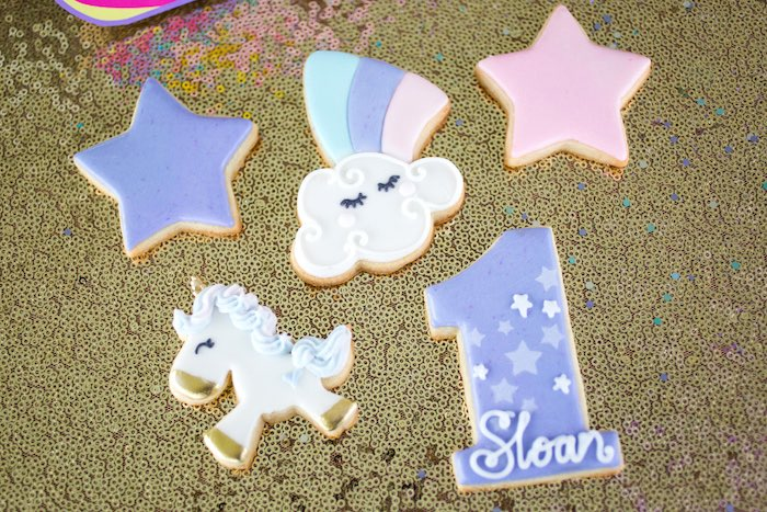 Unicorn-inspired Cookies from a Unicorn 1st Birthday Party on Kara's Party Ideas | KarasPartyIdeas.com (19)
