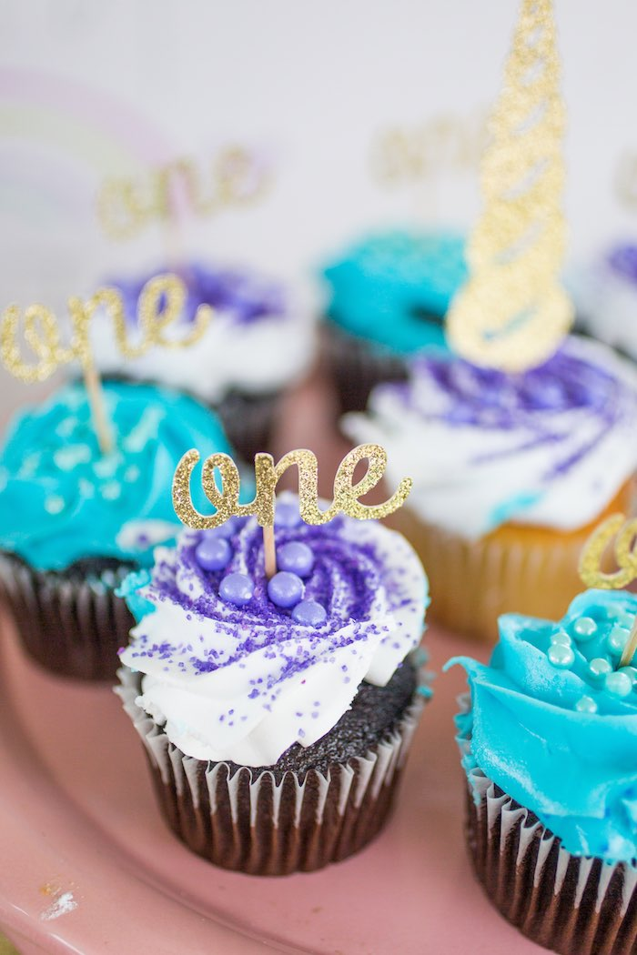"Glitter ""One"" Cupcakes from a Unicorn 1st Birthday Party on Kara's Party Ideas 