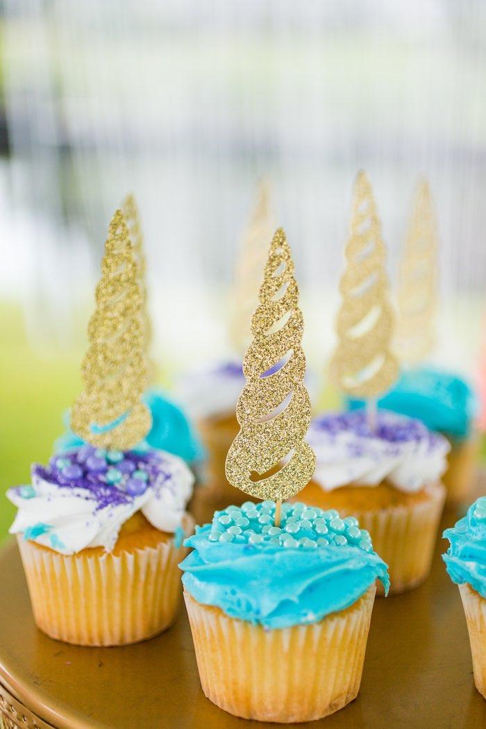 Glam Unicorn Cupcakes from a Unicorn 1st Birthday Party on Kara's Party Ideas | KarasPartyIdeas.com (17)