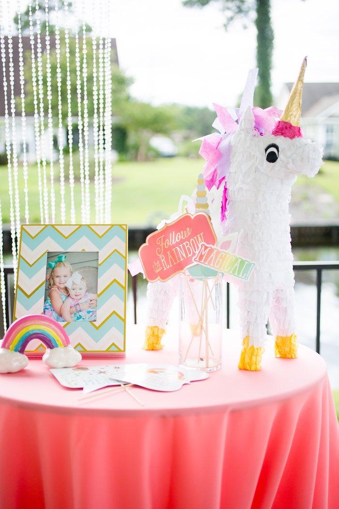 Unicorn Party Table from a Unicorn 1st Birthday Party on Kara's Party Ideas | KarasPartyIdeas.com (15)