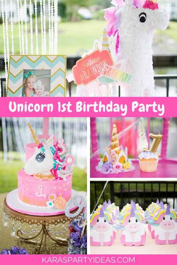 Unicorn 1st Birthday Party via Kara's Party Ideas - KarasPartyIdeas.com