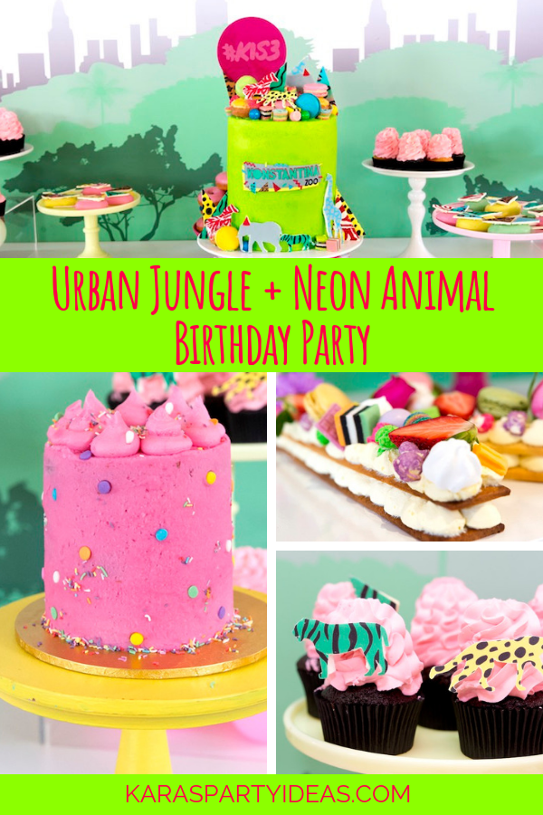 Urban Jungle + Neon Animal Birthday Party via Kara's Party Ideas - KarasPartyIdeas.com