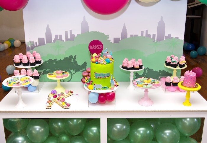 Dessert Table from a Urban Jungle + Neon Animal Birthday Party Urban Jungle + Neon Animal Birthday Party on Kara's Party Ideas | KarasPartyIdeas.com (21)