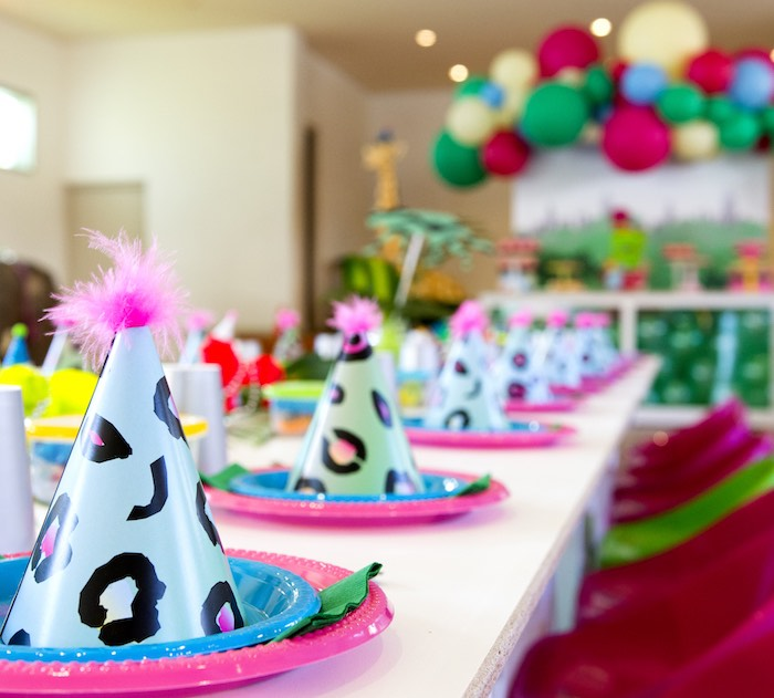Neon Jungle Party Hats + Table Settings from an Urban Jungle + Neon Animal Birthday Party Urban Jungle + Neon Animal Birthday Party on Kara's Party Ideas | KarasPartyIdeas.com (19)