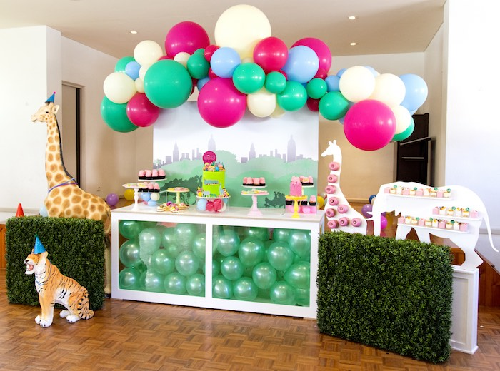 Urban Jungle Party Table from an Urban Jungle + Neon Animal Birthday Party Urban Jungle + Neon Animal Birthday Party on Kara's Party Ideas | KarasPartyIdeas.com (15)