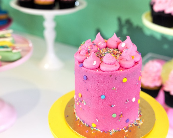 Pink Meringue-topped Cake from an Urban Jungle + Neon Animal Birthday Party Urban Jungle + Neon Animal Birthday Party on Kara's Party Ideas | KarasPartyIdeas.com (12)
