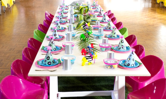 Neon Jungle Party - Guest Table from an Urban Jungle + Neon Animal Birthday Party Urban Jungle + Neon Animal Birthday Party on Kara's Party Ideas | KarasPartyIdeas.com (9)
