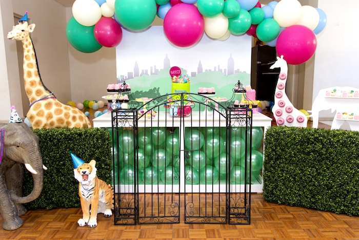 Jungle Themed Dessert Table from an Urban Jungle + Neon Animal Birthday Party Urban Jungle + Neon Animal Birthday Party on Kara's Party Ideas | KarasPartyIdeas.com (8)