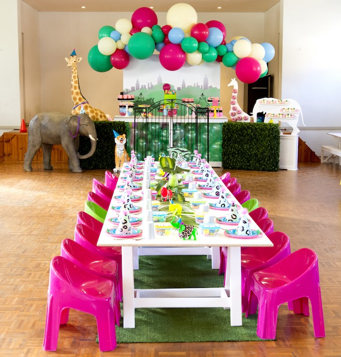 Jungle Party Tables from an Urban Jungle + Neon Animal Birthday Party Urban Jungle + Neon Animal Birthday Party on Kara's Party Ideas | KarasPartyIdeas.com (7)