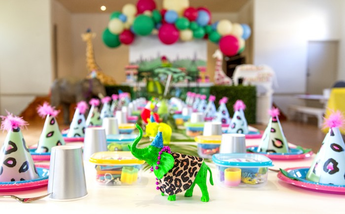 Jungle Party + Guest Table from an Urban Jungle + Neon Animal Birthday Party Urban Jungle + Neon Animal Birthday Party on Kara's Party Ideas | KarasPartyIdeas.com (6)
