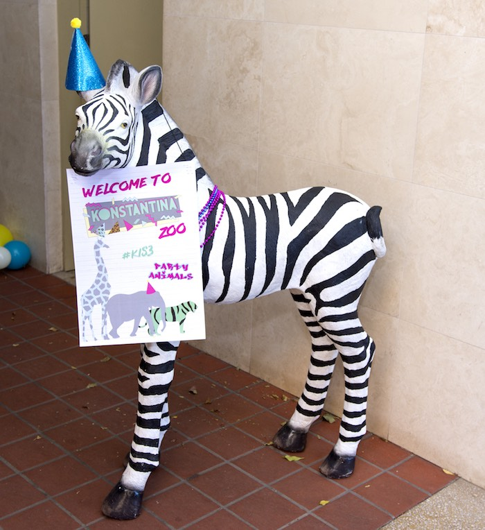 Welcome Zebra Prop from an Urban Jungle + Neon Animal Birthday Party Urban Jungle + Neon Animal Birthday Party on Kara's Party Ideas | KarasPartyIdeas.com (4)