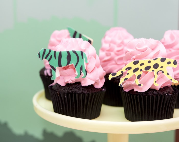 Jungle Animal Cupcakes from an Urban Jungle + Neon Animal Birthday Party Urban Jungle + Neon Animal Birthday Party on Kara's Party Ideas | KarasPartyIdeas.com (34)