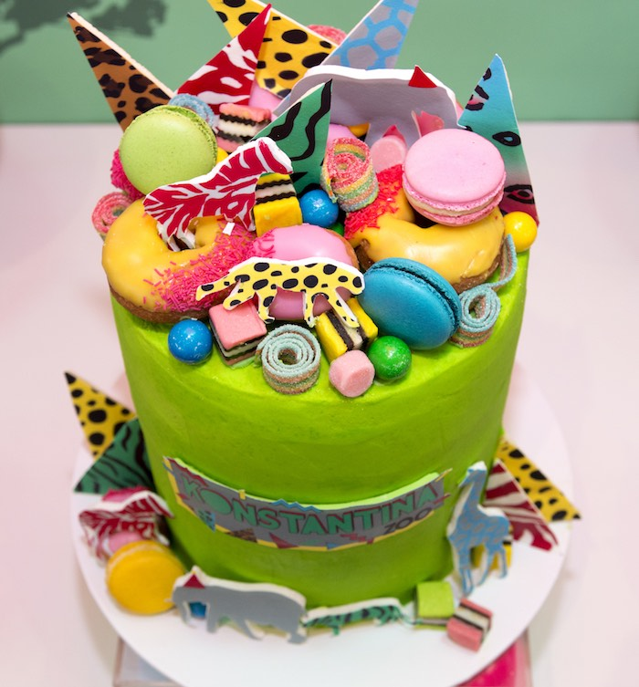 Jungle Cake from an Urban Jungle + Neon Animal Birthday Party Urban Jungle + Neon Animal Birthday Party on Kara's Party Ideas | KarasPartyIdeas.com (33)