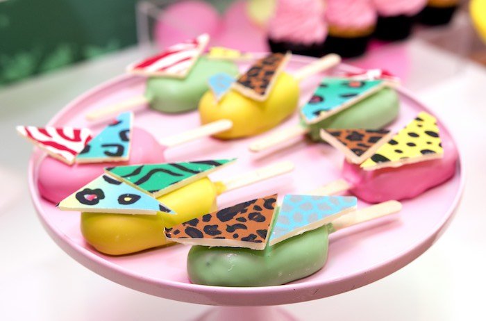 Jungle Cake Popsicles from an Urban Jungle + Neon Animal Birthday Party Urban Jungle + Neon Animal Birthday Party on Kara's Party Ideas | KarasPartyIdeas.com (31)