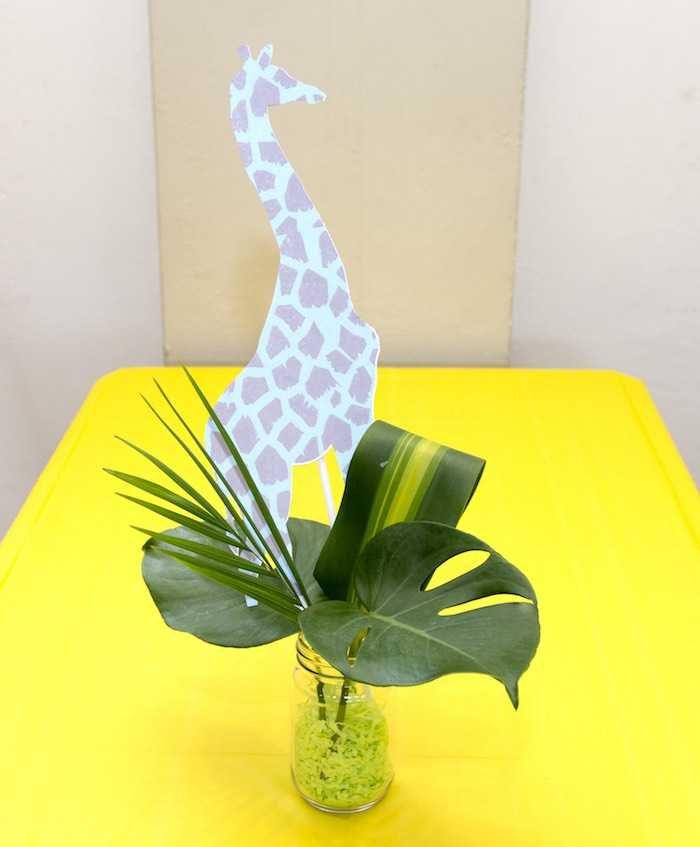 Jungle + Giraffe Table Centerpiece from an Urban Jungle + Neon Animal Birthday Party Urban Jungle + Neon Animal Birthday Party on Kara's Party Ideas | KarasPartyIdeas.com (29)