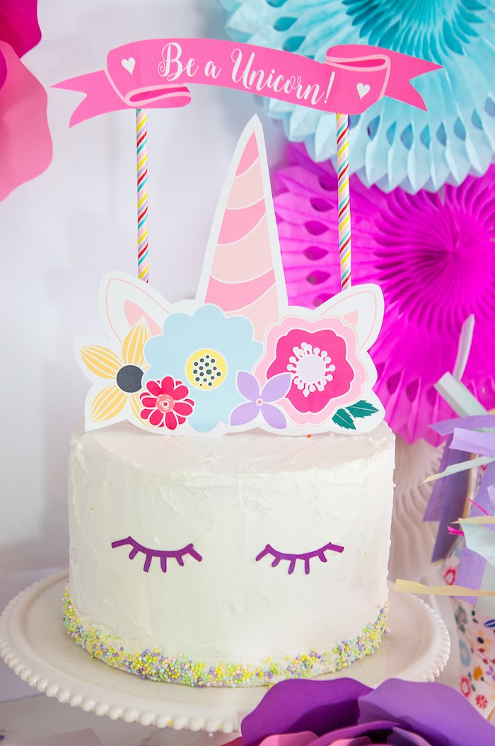 Unicorn Cake from a Vibrant Unicorn Birthday Party on Kara's Party Ideas | KarasPartyIdeas.com (14)