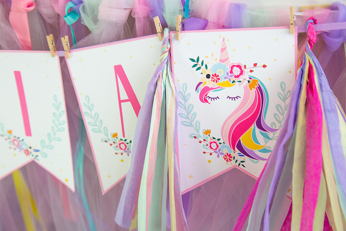 Unicorn Banner from a Vibrant Unicorn Birthday Party on Kara's Party Ideas | KarasPartyIdeas.com (12)