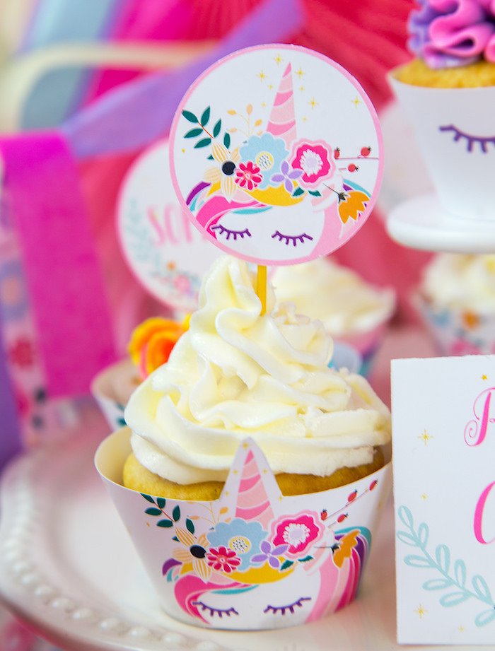 Unicorn Cupcake from a Vibrant Unicorn Birthday Party on Kara's Party Ideas | KarasPartyIdeas.com (9)