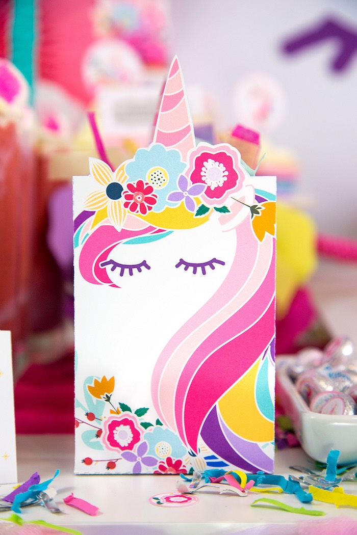 Unicorn Party Favor Bag from a Vibrant Unicorn Birthday Party on Kara's Party Ideas | KarasPartyIdeas.com (25)