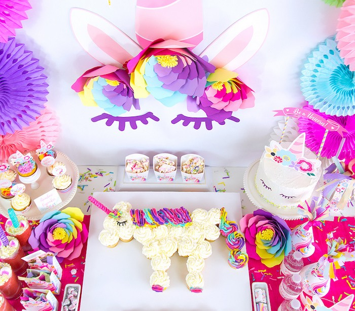 Unicorn Party Table from a Vibrant Unicorn Birthday Party on Kara's Party Ideas | KarasPartyIdeas.com (6)