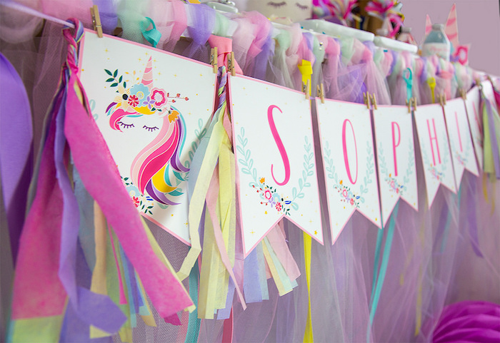 Unicorn Tassel Banner from a Vibrant Unicorn Birthday Party on Kara's Party Ideas | KarasPartyIdeas.com (24)