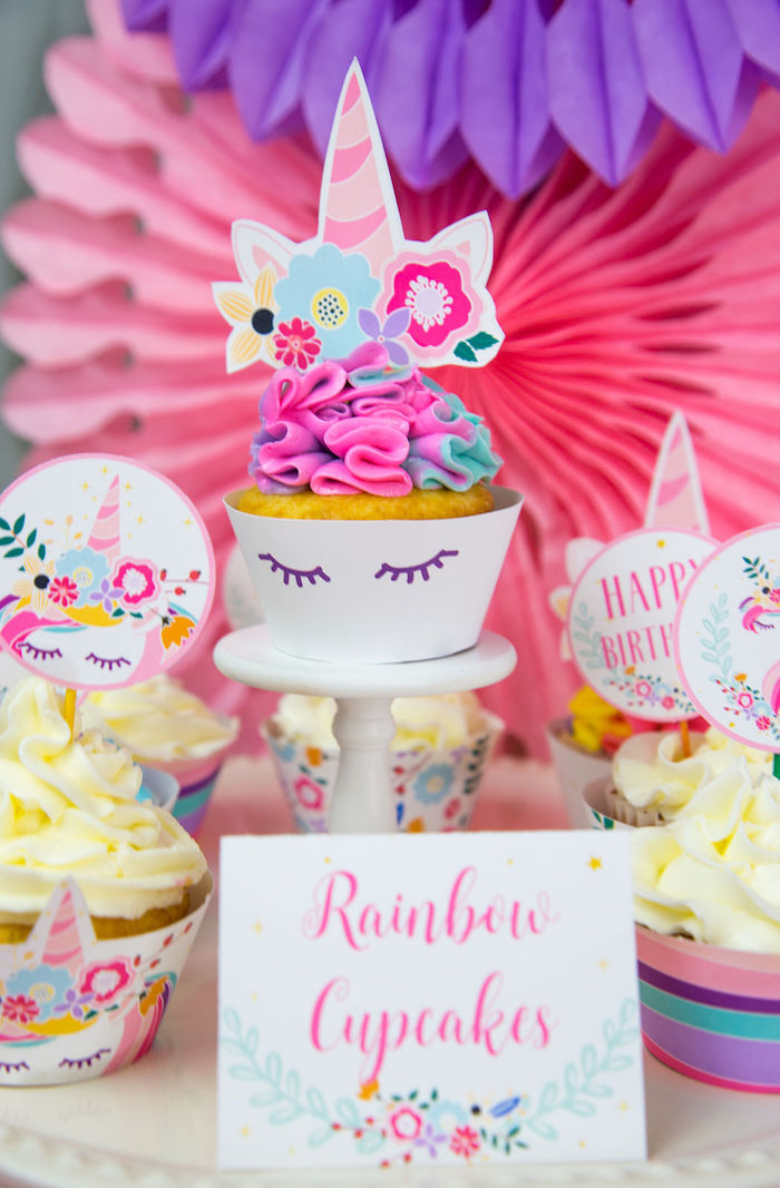 Rainbow Unicorn Cupcakes from a Vibrant Unicorn Birthday Party on Kara's Party Ideas | KarasPartyIdeas.com (21)