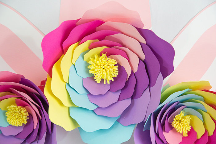 Pastel Rainbow Paper Flower from a Vibrant Unicorn Birthday Party on Kara's Party Ideas | KarasPartyIdeas.com (19)