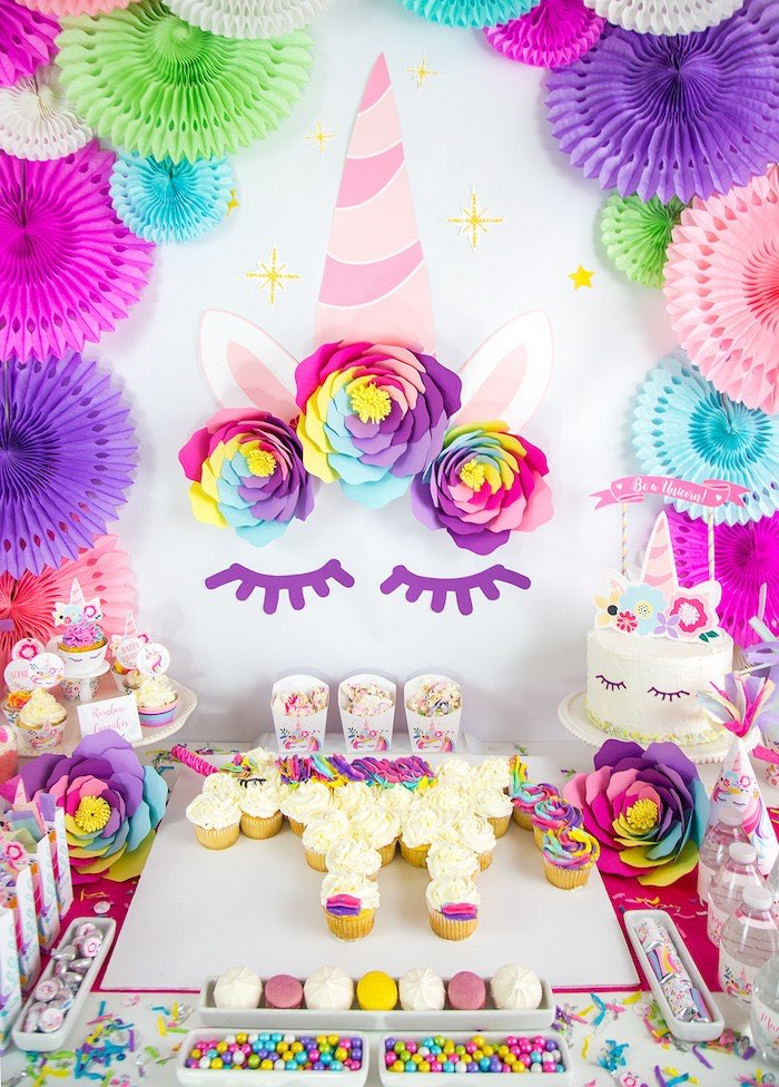 Unicorn Party Table from a Vibrant Unicorn Birthday Party on Kara's Party Ideas | KarasPartyIdeas.com (17)