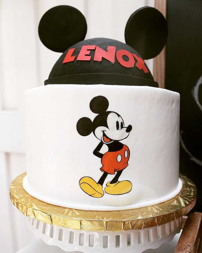 Mickey Mouse Cake from a Vintage Mickey Mouse Birthday Party on Kara's Party Ideas | KarasPartyIdeas.com (14)