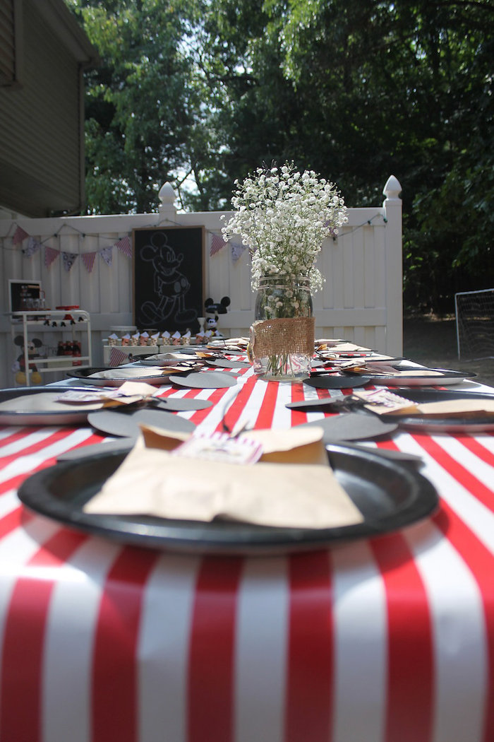 Guest Table from a Vintage Mickey Mouse Birthday Party on Kara's Party Ideas | KarasPartyIdeas.com (12)
