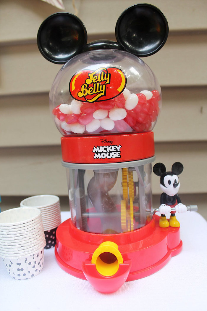 Mickey Mouse Gumball Machine from a Vintage Mickey Mouse Birthday Party on Kara's Party Ideas | KarasPartyIdeas.com (10)