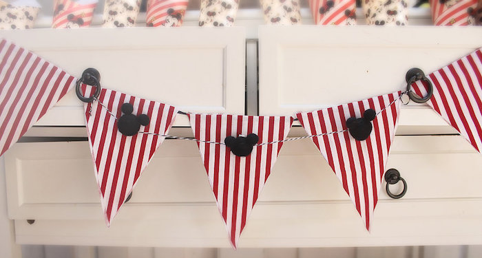 Striped Mickey Mouse Pennant Banner from a Vintage Mickey Mouse Birthday Party on Kara's Party Ideas | KarasPartyIdeas.com (7)