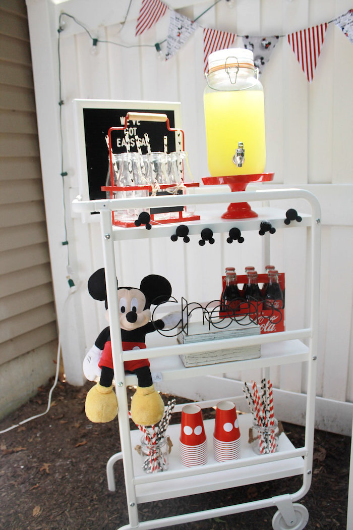 Mickey Mouse Beverage Cart from a Vintage Mickey Mouse Birthday Party on Kara's Party Ideas | KarasPartyIdeas.com (6)