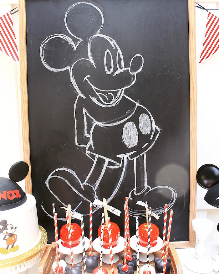 Chalkboard Mickey Mouse Sign from a Vintage Mickey Mouse Birthday Party on Kara's Party Ideas | KarasPartyIdeas.com (5)