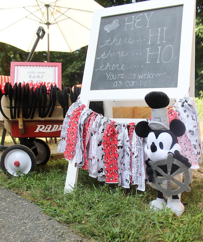 Hey, Hi, Ho-Mickey Mouse Chalkboard + Ribbon Tassel Garland from a Vintage Mickey Mouse Birthday Party on Kara's Party Ideas | KarasPartyIdeas.com (19)