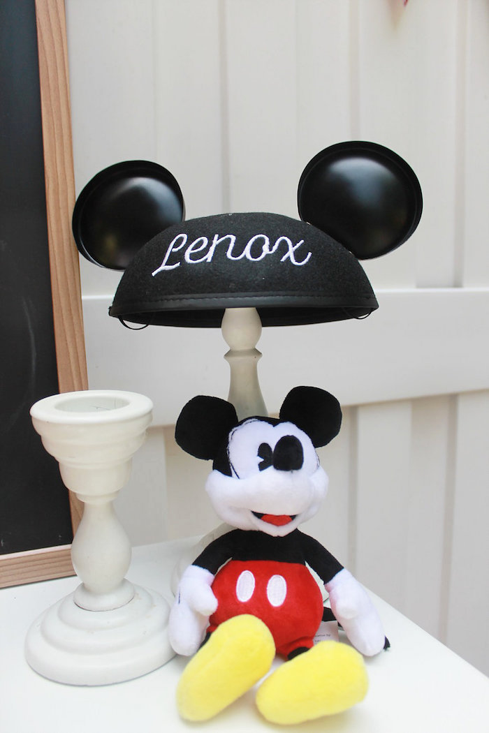 Personalized Mickey Ears from a Vintage Mickey Mouse Birthday Party on Kara's Party Ideas | KarasPartyIdeas.com (17)