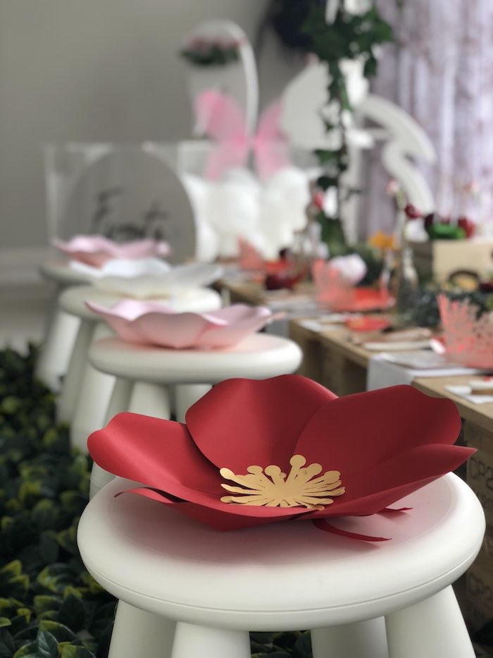 "Paper Flower-adorned Stools from a ""Once Upon A Time"" Woodland Forest Birthday Party on Kara's Party Ideas 
