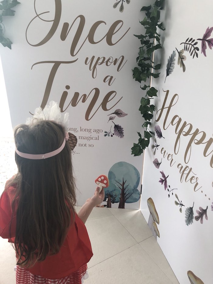 "Fairytale Storybook Backdrop from a ""Once Upon A Time"" Woodland Forest Birthday Party on Kara's Party Ideas 