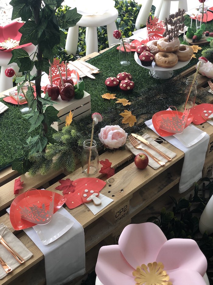 "Toadstool Table Settings + Woodland Guest Tabletop fro""Once Upon A Time"" Woodland Forest Birthday Party on Kara's Party Ideas 