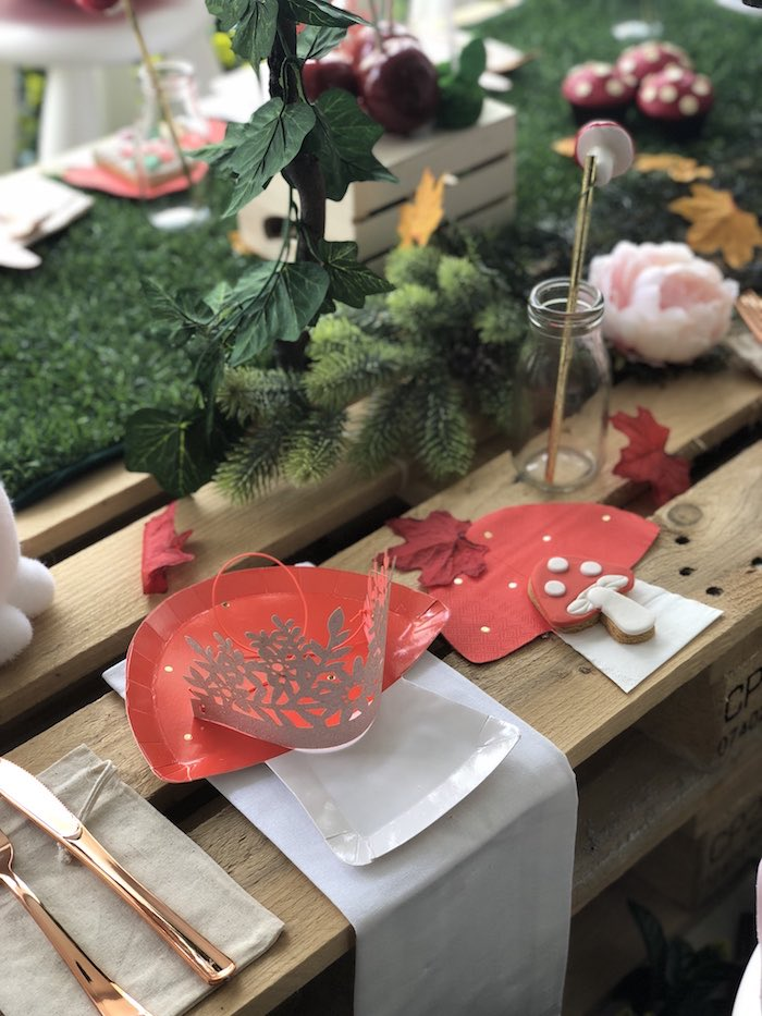 "Toadstool Table Setting from a ""Once Upon A Time"" Woodland Forest Birthday Party on Kara's Party Ideas 